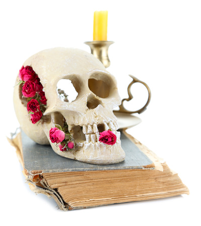 Skull with dried roses on old book and candle isolated on white photo