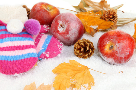 Red apples with mittens in snow close up photo