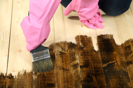 treated board: Applying protective varnish to wooden fence, on bright background