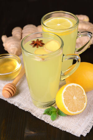 Healthy ginger tea with lemon and honey on table close-up photo