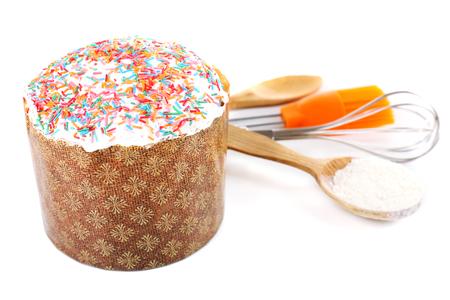 paskha: Easter cake isolated on white