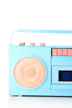 Colorful retro radio, isolated on white photo