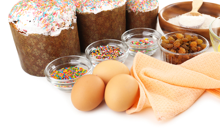 paskha: Ingredients for Easter cake close up Stock Photo