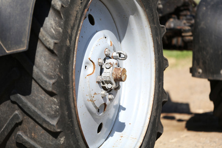 Big tractor wheel, close-up photo