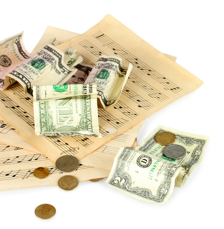 notes with money isolated on white photo