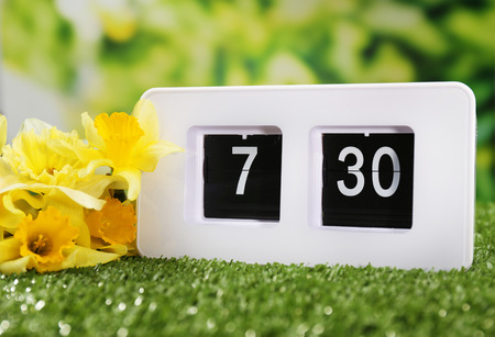 Alarm clock on green grass, on nature background photo