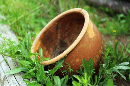 Old brown flower pot, outdoors photo