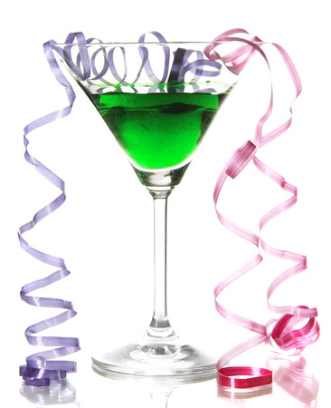 after the party: Glass of cocktail and streamer after party isolated on white Stock Photo