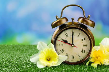 time zones: Alarm clock on green grass, on nature background