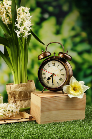 Alarm clock on green grass, on nature background