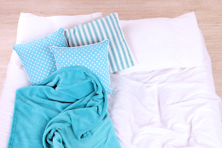 unmade: Unmade bed close up Stock Photo