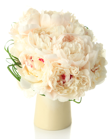 Beautiful wedding bouquet in vase isolated on white photo