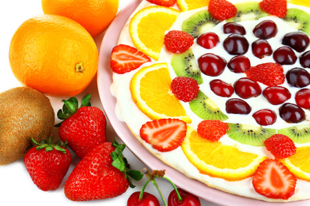 Homemade sweet pizza with fruits, close up photo