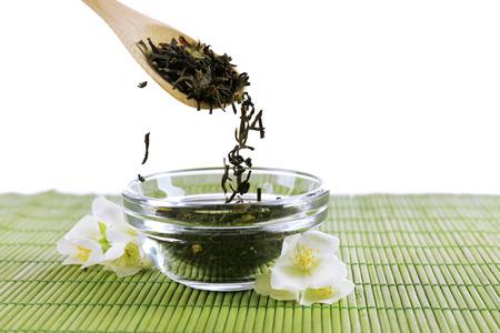 Jasmine tea on table photo