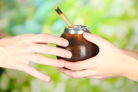 yerba mate: Manos de la mujer que da calabaza y bombilla con yerba mate, en el fondo la naturaleza