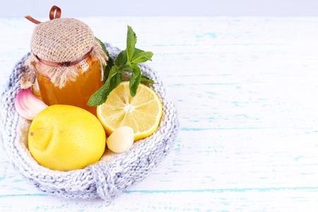 Folk remedies for colds on wooden table Reklamní fotografie