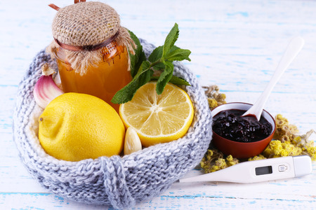 remedies: Folk remedies for colds on wooden table