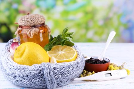Folk remedies for colds on table on natural background Reklamní fotografie
