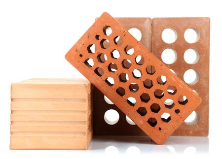 Brown bricks, isolated on white photo