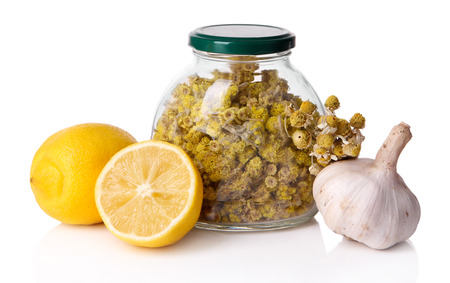 colds: Folk remedies for colds isolated on white
