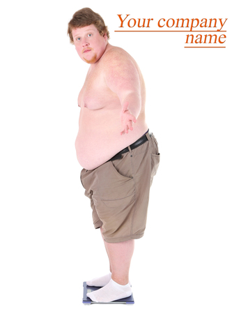 Fat man standing on electronic scales . Conceptual photo of weight loss. Isolated on white