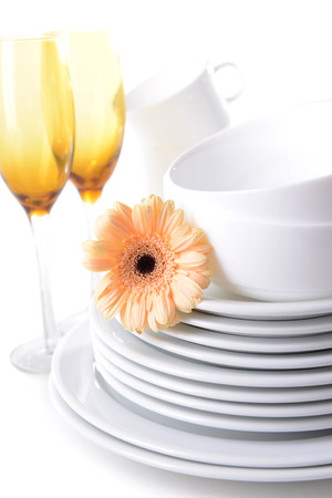 Set of white dishes close-up