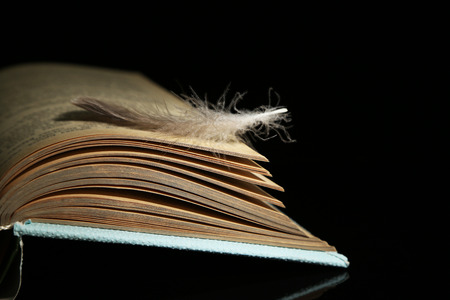 wakening: Feather lying on pages of  open book, isolated on black