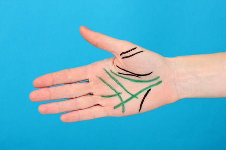 Chiromancy.Color contours on palm, on color background Stock Photo