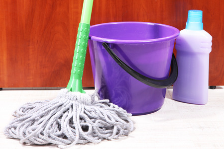 tidiness: Washing the floor and all floor cleaning Stock Photo