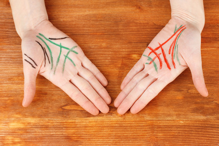Chiromancy.Color contours on palm, on wooden background photo