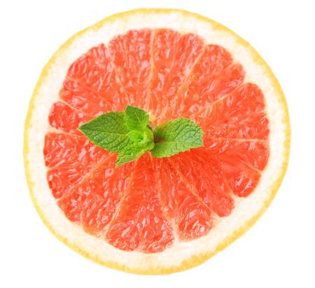 halved  half: Half of grapefruit isolated on white Stock Photo