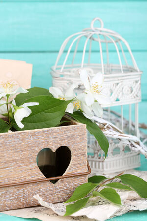 Beautiful spring composition with jasmine flowers photo