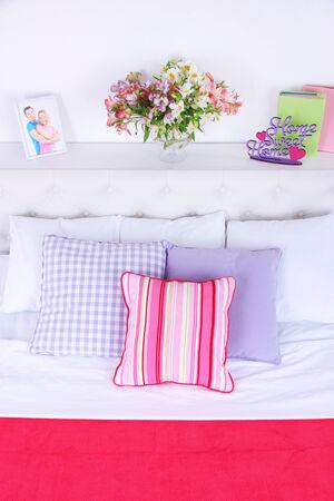 bedsheet: Comfortable soft bed in room