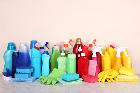 sanitizing: Cleaning products on shelf