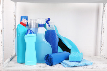 Cleaning products on shelf photo