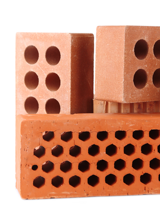 Brown bricks, isolated on white photo
