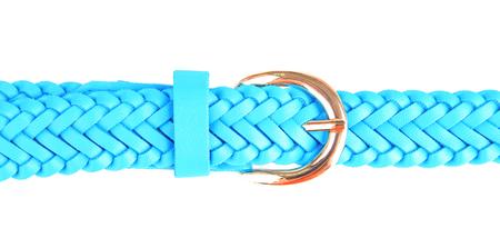 waistband: Blue leather belt, isolated on white Stock Photo