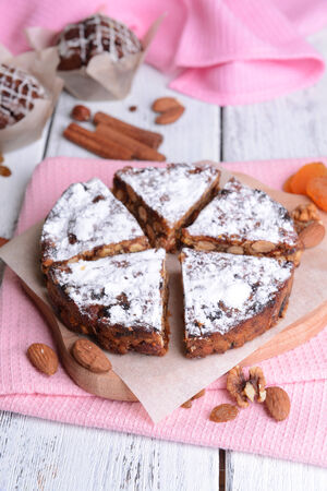 Delicious cake panforte on table close-up photo