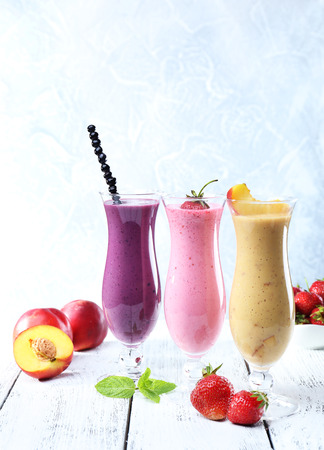 Delicious smoothie on table, close-up photo