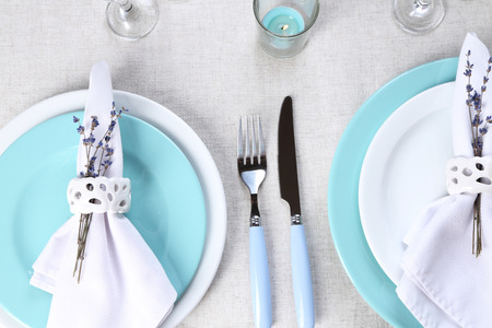 Dining Table Setting With Lavender Flowers On Table, Close-up ...
