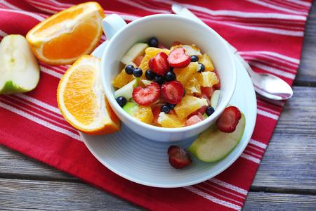 Useful homemade fruit salad, close-up photo