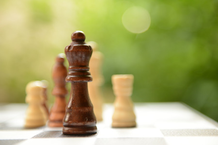 Chess board with chess pieces on bright background Stockfoto