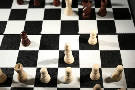 chess board: Chess board with chess pieces close-up Stock Photo