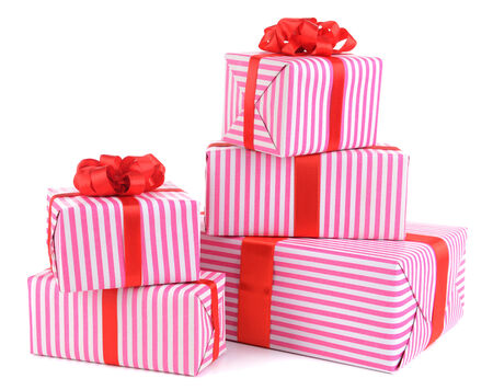 Beautiful gifts isolated on white photo