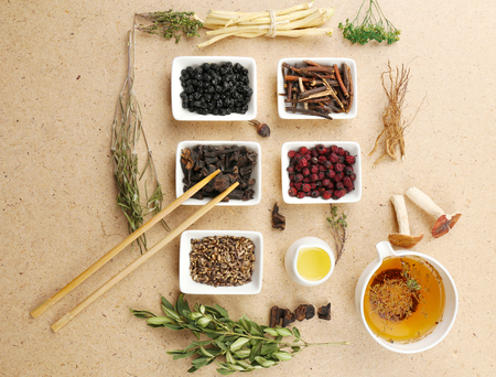 伝統的な漢方薬の成分、クローズ アップ