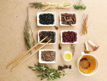 medicina tradicional china: Ingredientes medicina tradicional china a base de hierbas, primer plano