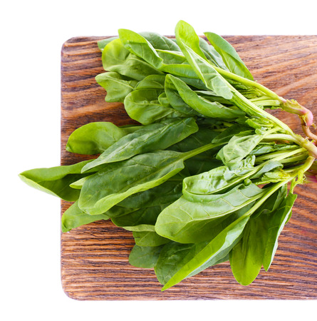 Tuft of fresh sorrel on wooden cutting board isolated on white photo