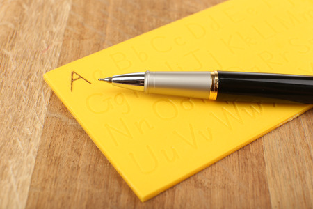 Writing trainer for children, close up photo