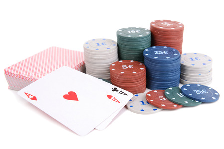 Cards and chips for poker isolated on white Stock Photo