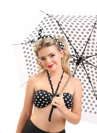 Beautiful glamour girl with umbrella, isolated on white